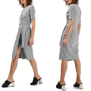 Topshop Belted Wrap Heathered Gray Midi Dress sz 8